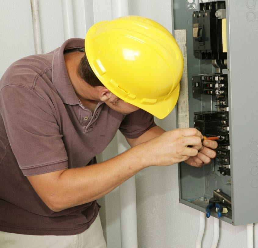 electrician working on circuit